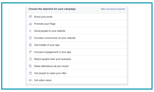 Facebook ads different objectives options