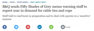 B&Q 50 shades of Grey memo Telegraph