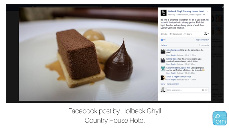 Facebook page post by hotel