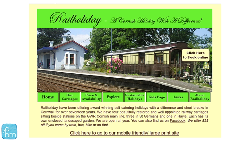 Rail Holiday website