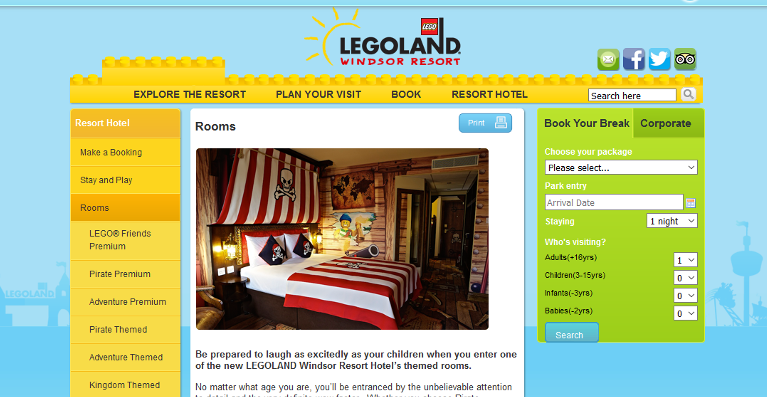 Legoland Hotel themed rooms