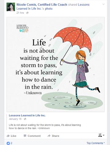 Motivational post on Facebook