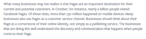 Facebook news release re business pages