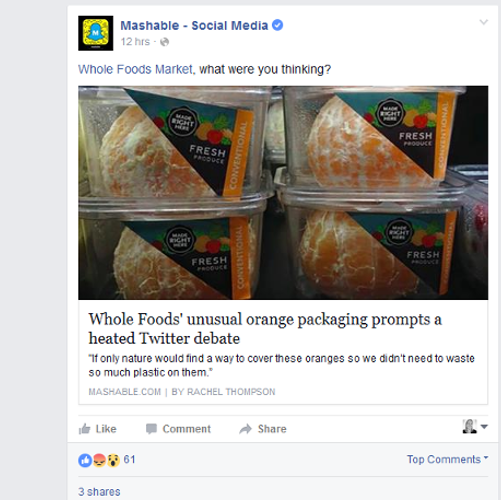 Whole Foods orange Facebook post