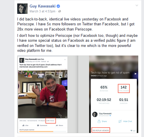 Guy Kawasaki tests Facebook live video
