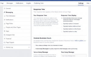 how to set up instant replies on facebook business page