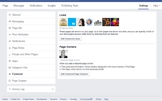 how to add a featured page to a facebook business page