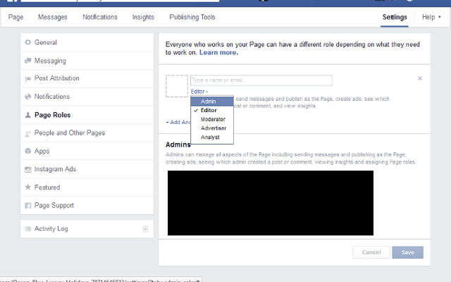 adding new admin on facebook business page