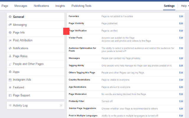 Facebook settings for pages