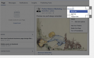 how to pin a post to top on Facebook