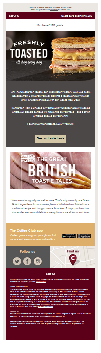 enewsletter from Costa