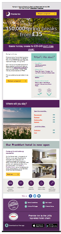 Premier Inn enewsletter