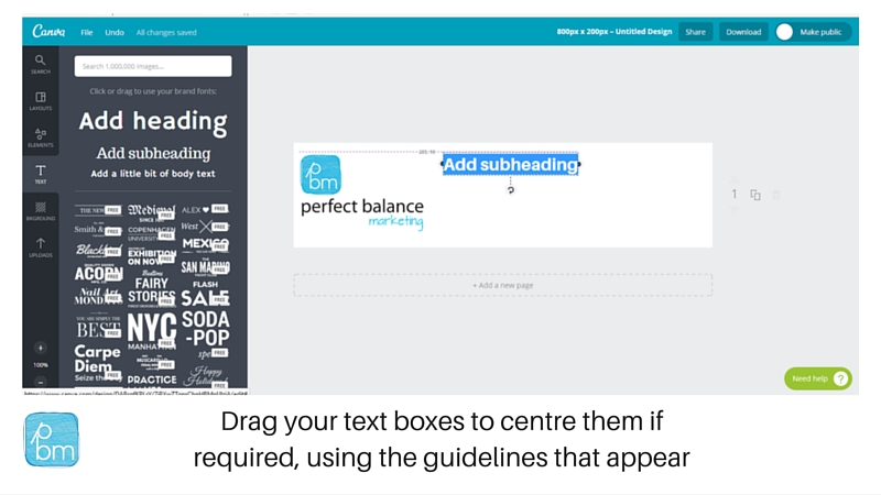 how to move text boxes in canva
