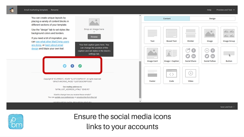 linking to social media accounts in Mailchimp