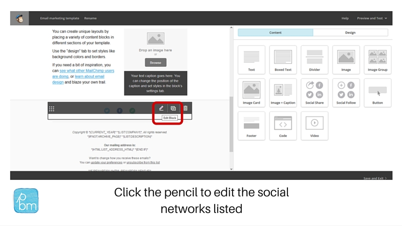 changing social media account links in Mailchimp