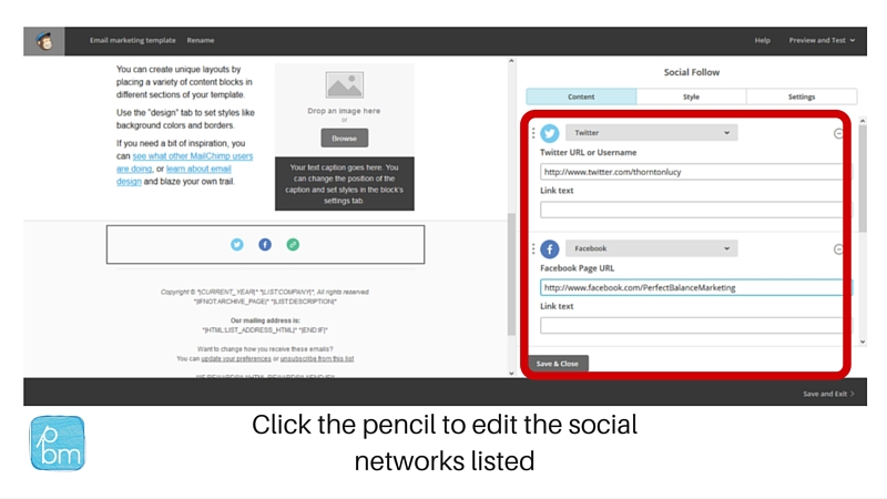 social network URL links in Mailchimp footer