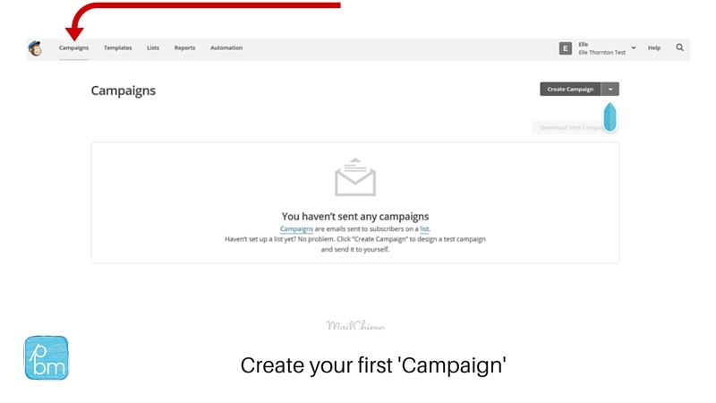 creating your first campaign in Mailchimp