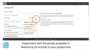 how to use emojis in subject lines in Mailchimp