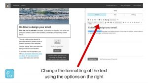 email marketing formatting text to bold and italics in Mailchimp