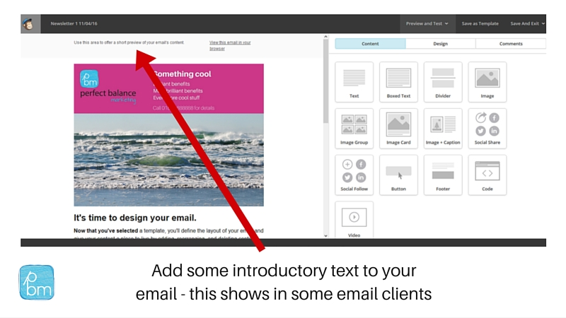 adding introductory text to email in Mailchimp