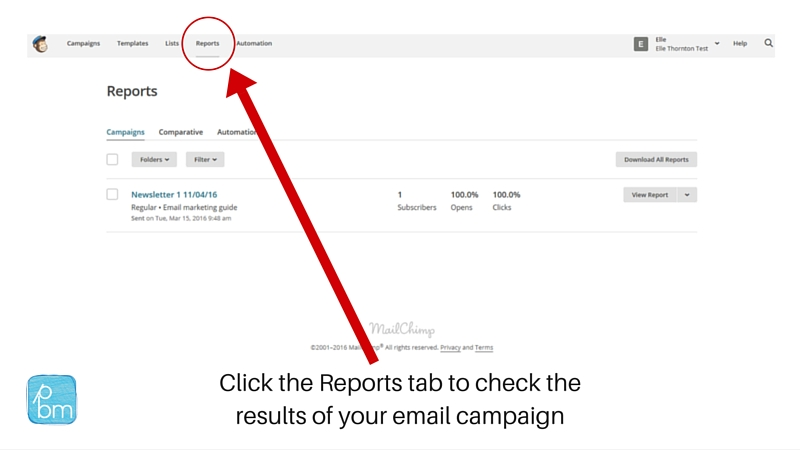how to check results of emarketing in Mailchimp