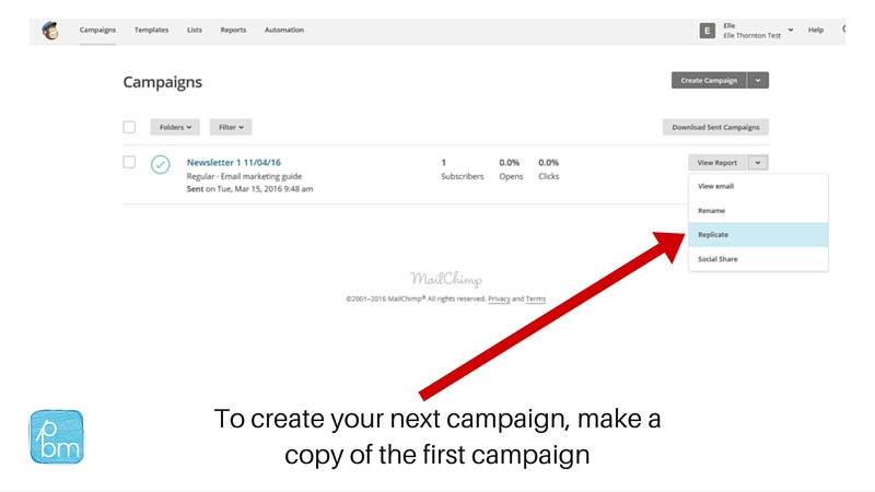 how to make a copy of a marketing email in Mailchimp