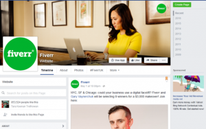 fiverr facebook page pinned post