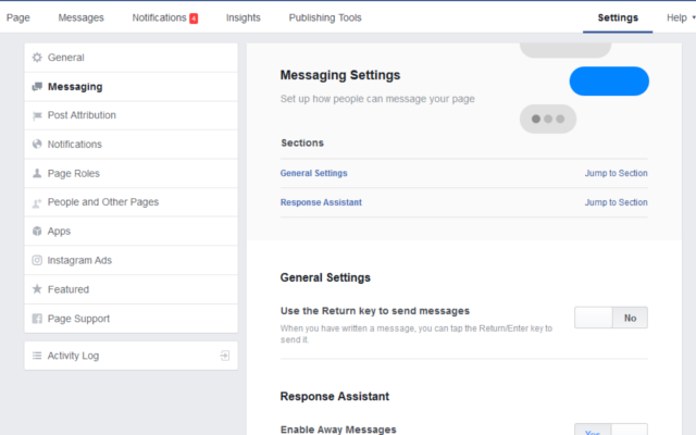 facebook business page instant replies