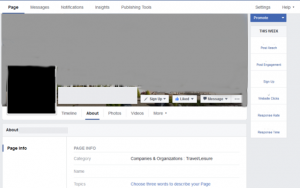 Facebook business page about copy