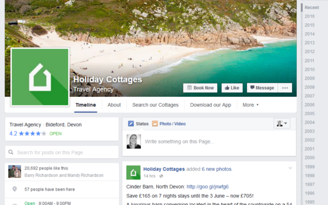 facebook business page for holiday cottages