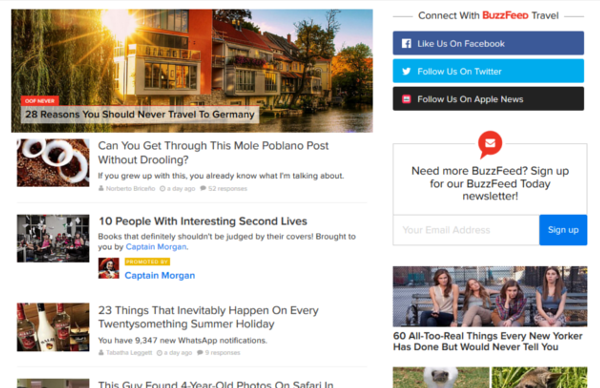buzzfeed travel homepage