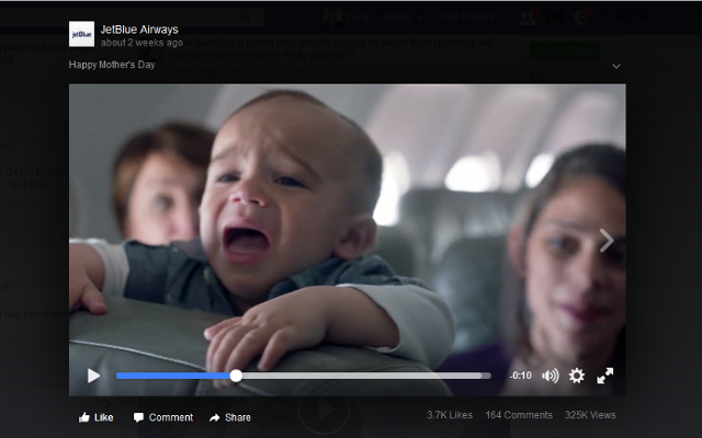 Jetblue airways mothers' day video on Facebook