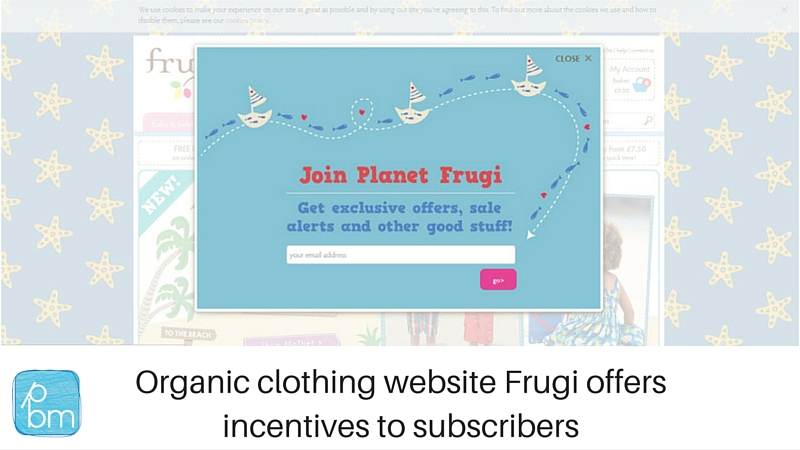 Frugi email sign-up form