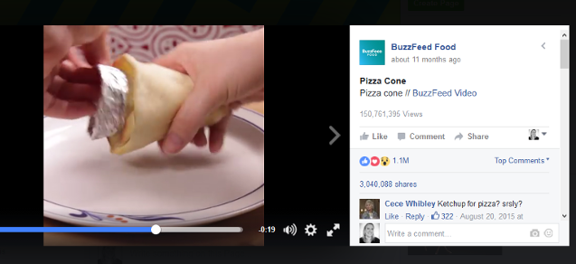 Facebook pizza cone video by Buzzfeed