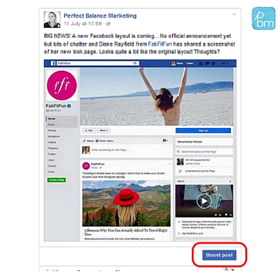 Facebook advertising boosted post