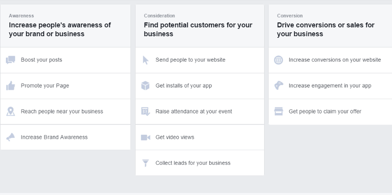 facebook ad objectives 2016