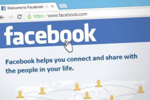 facebook social network open on laptop