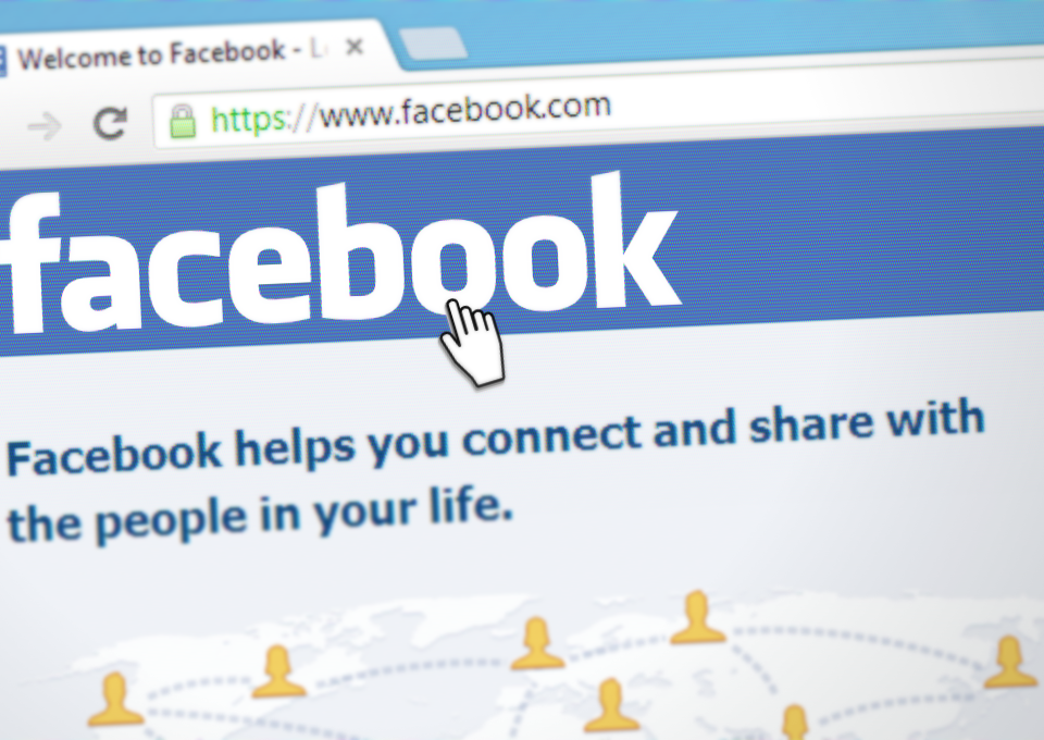 facebook social network open on laptop