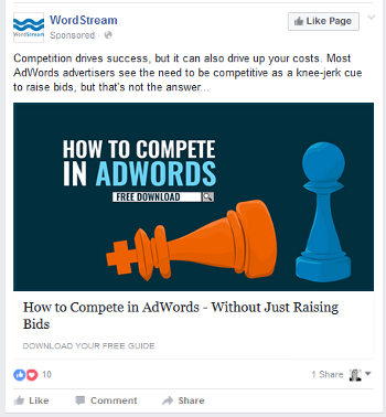 wordstream facebook ad july 2016
