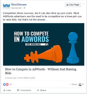 wordstream facebook ad july 2016