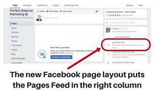 See pages feed on new Facebook page layout 2016