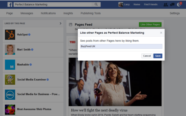 how to follow other business pages on Facebook